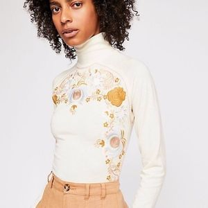 Free People Embroidered Disco Rose Top